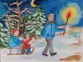 Weihnachtskarte »Abendliche Schlittenfahrt«